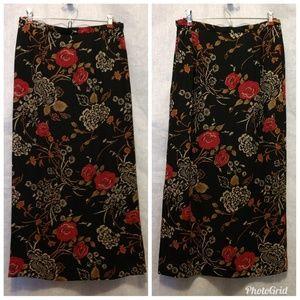 Pendleton maxi floral black skirt zip slit side